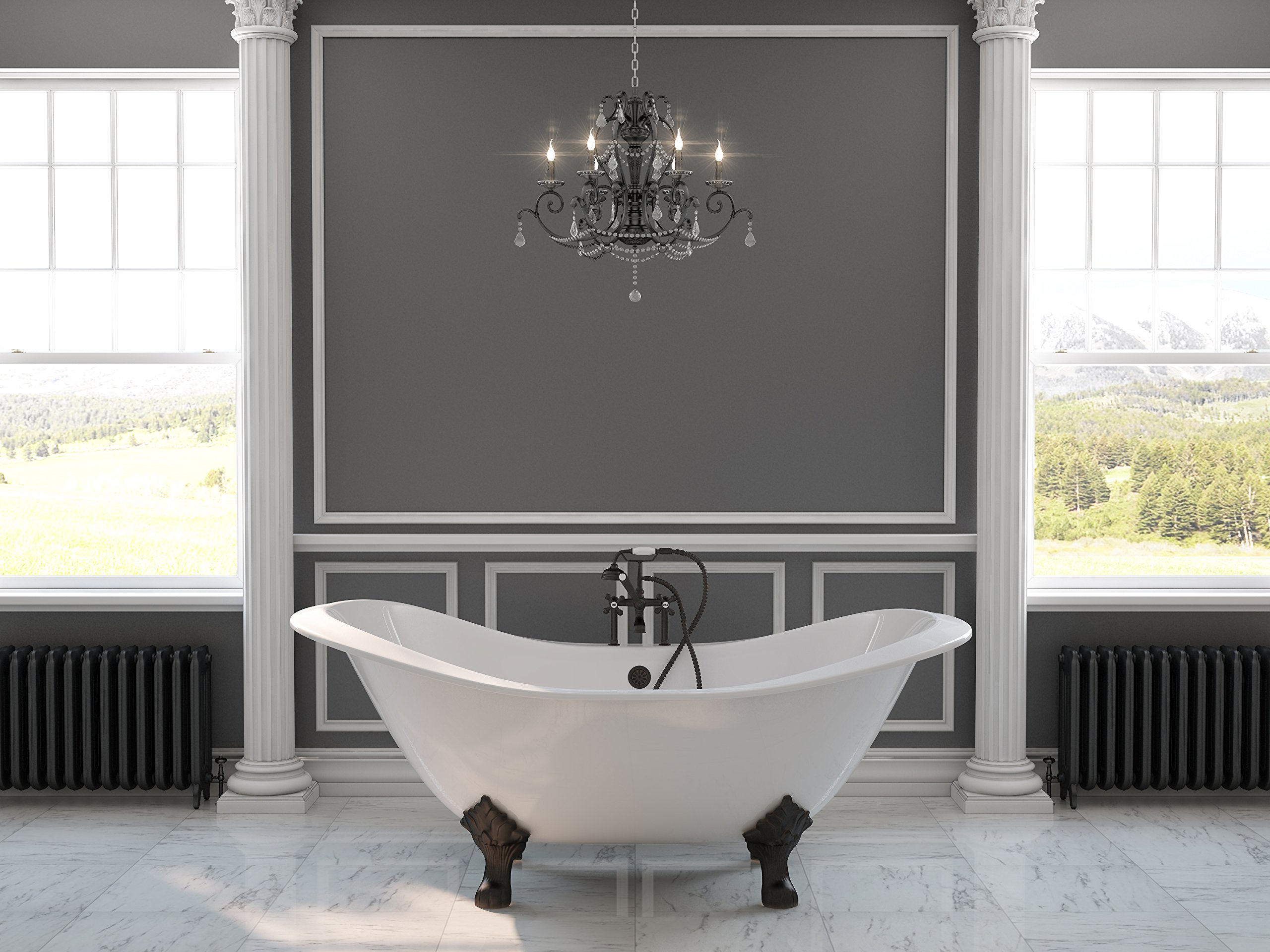 71'' Cast Iron Double Ended Slipper Tub with 7'' Faucet Hole Drillings & Oil Rubbed Bronze Feet- ''Buchanan''