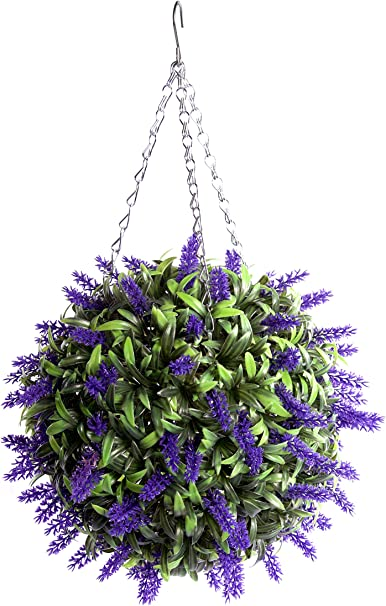 Artificial Lavender Ball Fake Flower Basket Plant Outdoor Hanging Topiary Decor