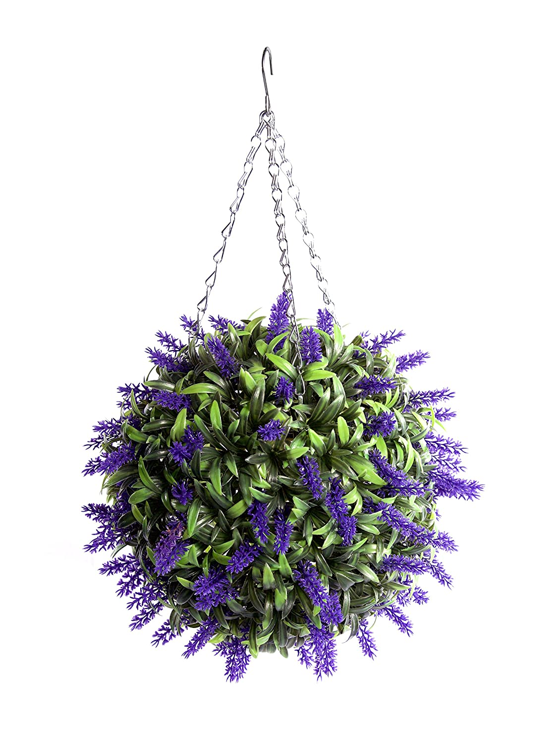 Best Artificial Purple Lavender Lush Long Leaf Flower Topiary Ball (30cm)