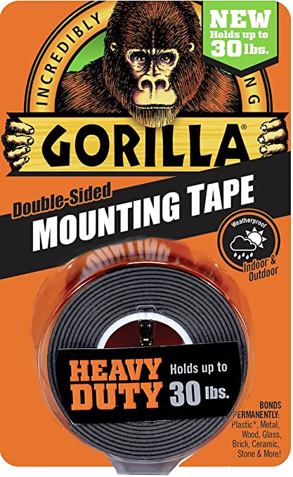 Gorilla 6055001 Heavy Duty Mounting Tape, Double Sided, 1u0026quot; X 60u0026quot;