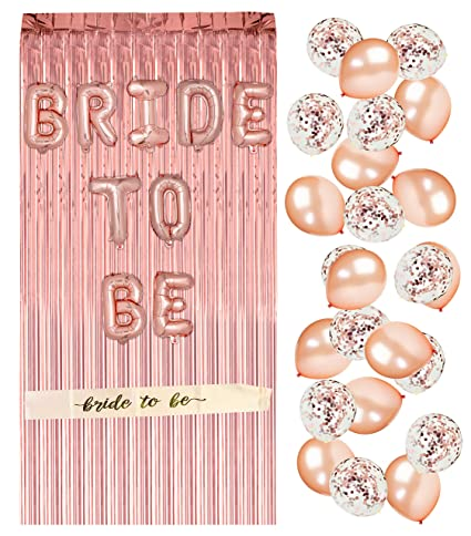 rose gold bachelorette party supplies bridal shower decorations rose gold balloons confetti balloons
