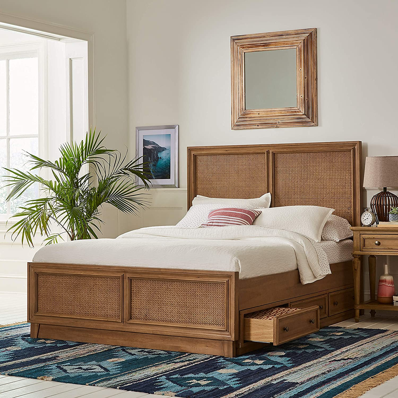Amazon Brand – Stone & Beam Casual Geometric Cotton Area Rug, 4 x 6 Foot, Flatweave, Blue