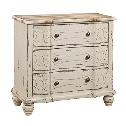 Beau Pulaski DS 2540 850 Ornate Overlay 3 Drawer Accent Storage Chest In  Weathered Cream