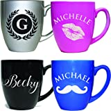 Monogrammed Coffee Cup Latte Mug - Personalized Coffee Gifts - Engraved for Free