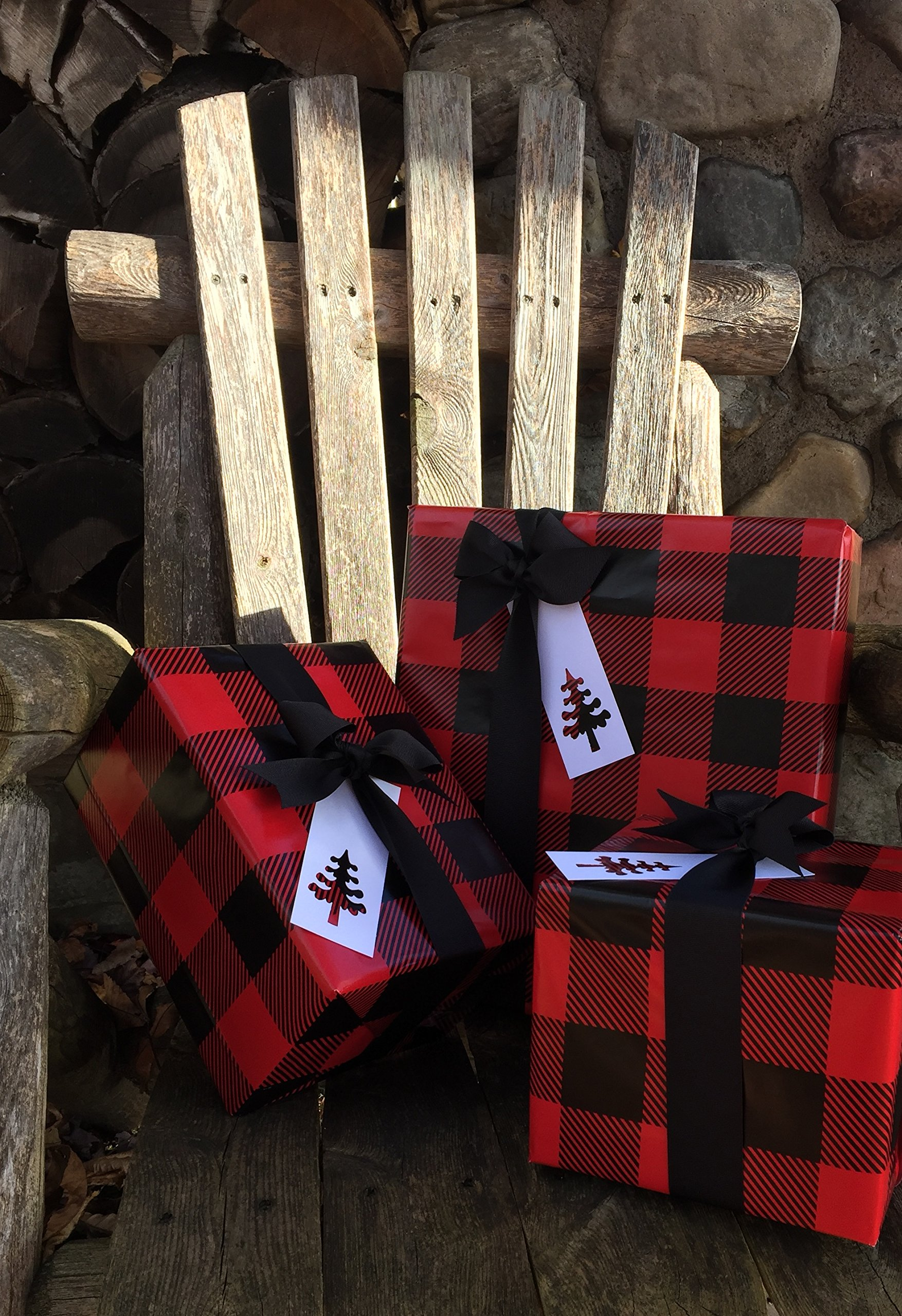 Lumberjack Gift Wrap Paper (Red Buffalo Plaid) for Christmas Gift Wrapping, 24'' x 85 FT, with Black Grosgrain Ribbon (50 YDS) and White Gift Tags (50) by Rustic Pearl Collection