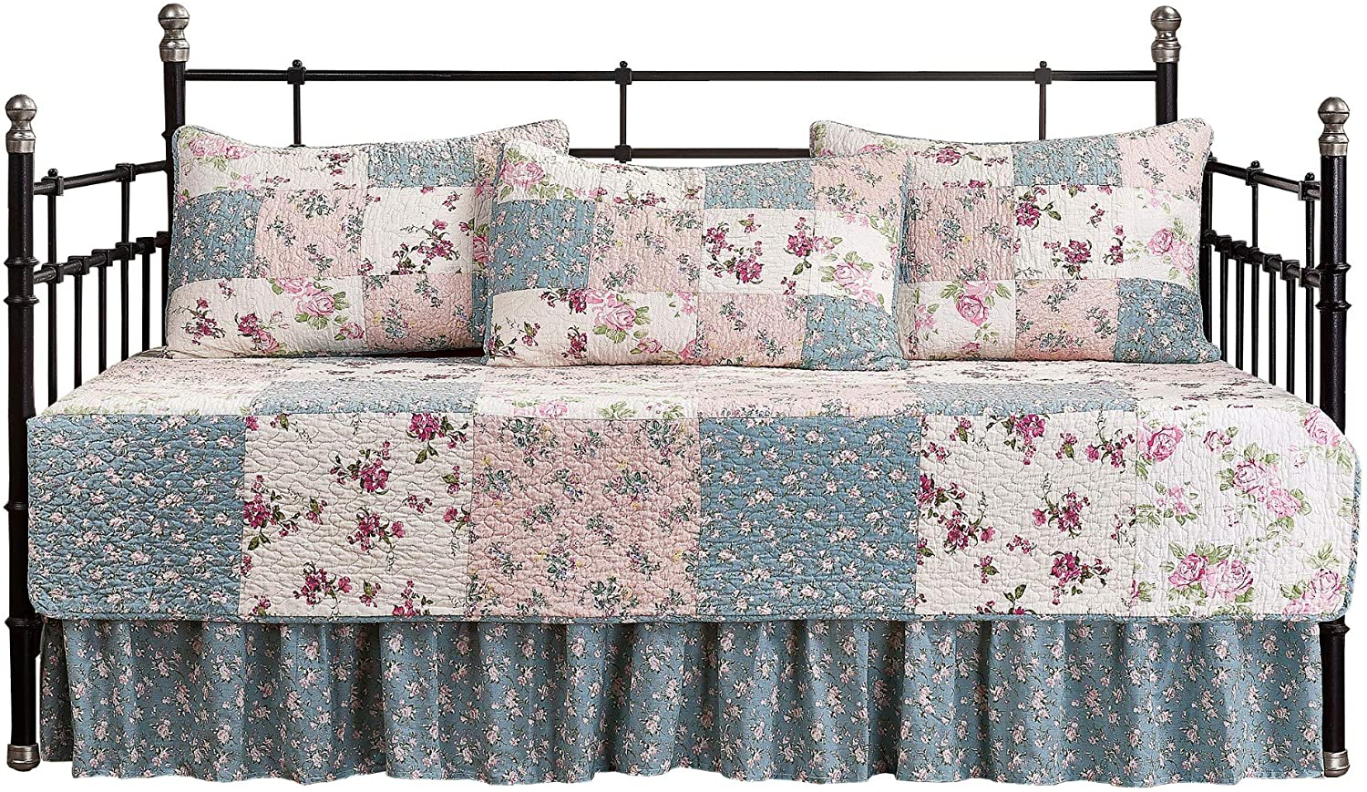 Chezmoi Collection Abbi 5-Piece Garden Floral Vintage Washed 100%-Cotton Reversible Patchwork Quilt Set (Daybed Size)