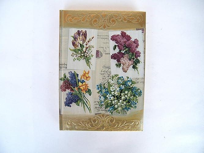 Kristan Art - Agenda 2019 Planificador A5 Regalo de Navidad para Ella Vista por Dia Tapa Dura diario Vintage flores Relieve