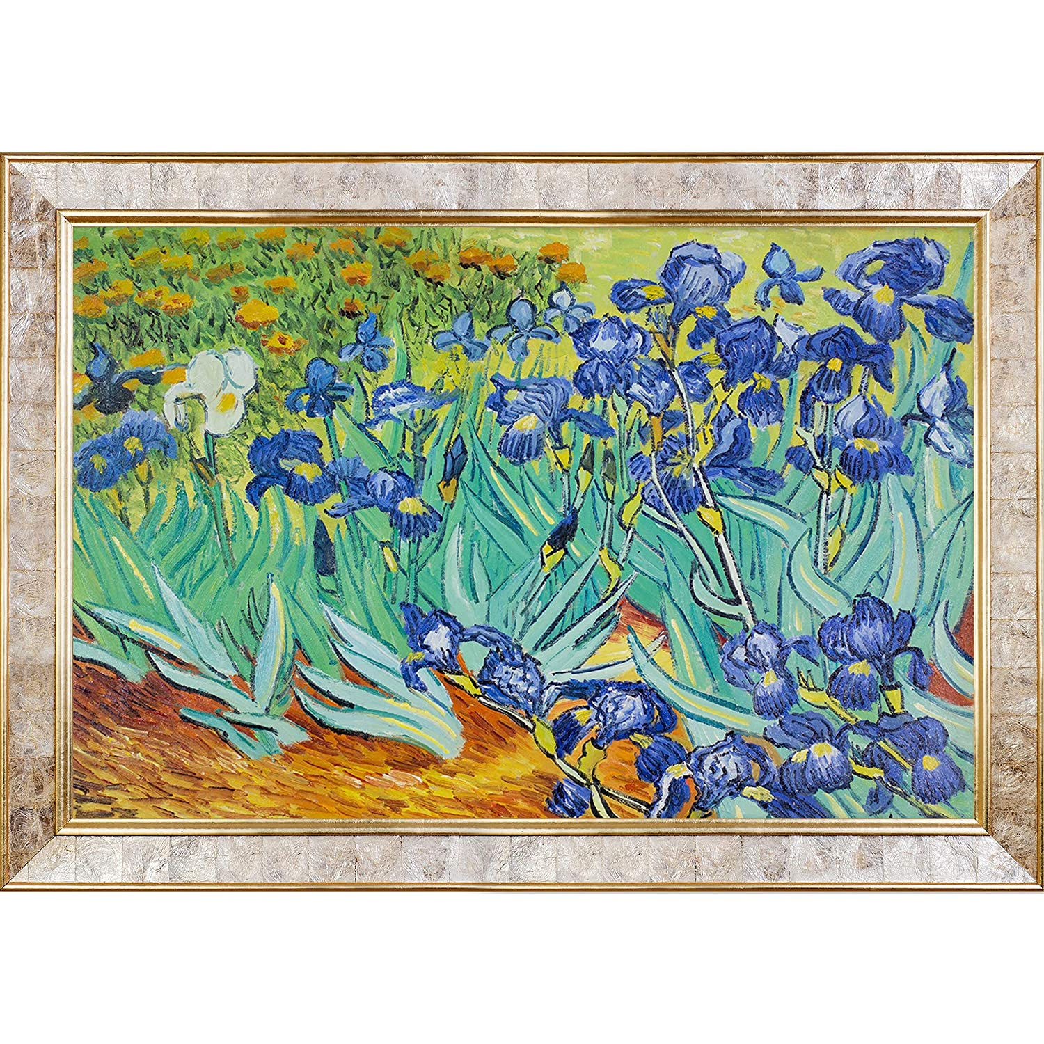 Medium overstockArt Irises by Van Gogh with Gold Pearl Inlay Frame