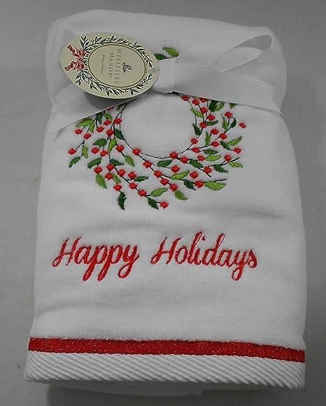 Wesley Manor Corona de Navidad bordado toallas de mano Set de 2