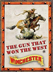 "PAGAIXI Wall Decor Garage Novelty Vintage Metal Signs Tin Sign 8"" x 12"" Cafe Home The Gun That Won The West"