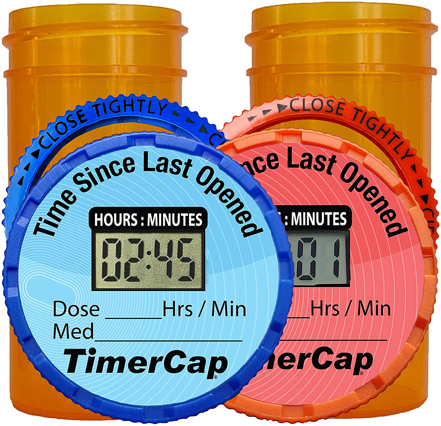 TimerCap Automatically Displays Time Since Last Opened - Built-in Stopwatch Smart Pill Bottle Cap Medication Reminder Case (Qty 2 - Standard 1.8 oz White Opaque Bottles) EZ -Twist/CRC: Health & Personal Care