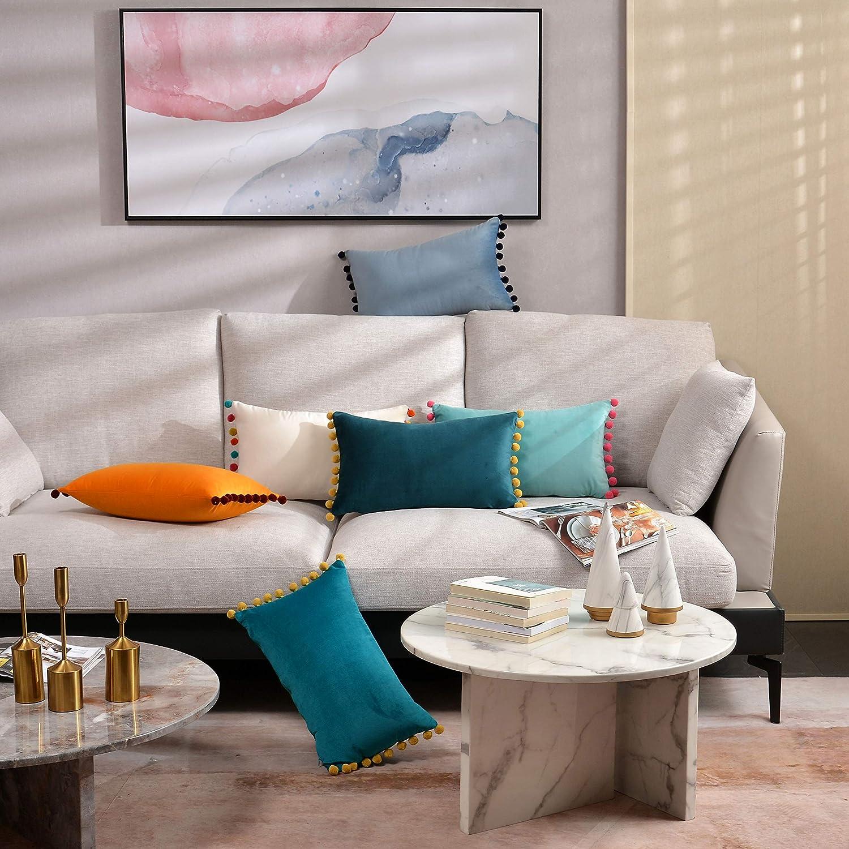 DOKOT Terciopelo Fundas de Almohada Soft Decorativa Fundas de Cojín Caso con Pompón para Sofá Dormitorio Auto 30 x 50 cm Verde Oscuro