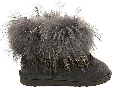 OOG Boots echtes Fell   Leder Schuh Damen Fellstiefel Bommel Winterstiefel  Pelz (36 EU, 8021ee7950
