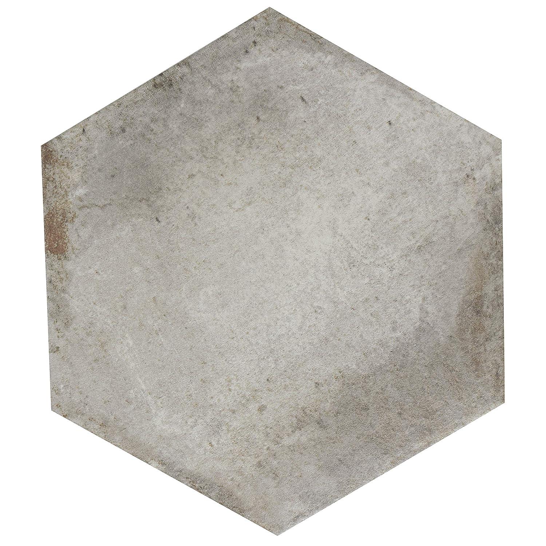11 x 12.63 Grigio Tile, SomerTile FNUDAXGR Artifact Hex Porcelain Floor and Wall
