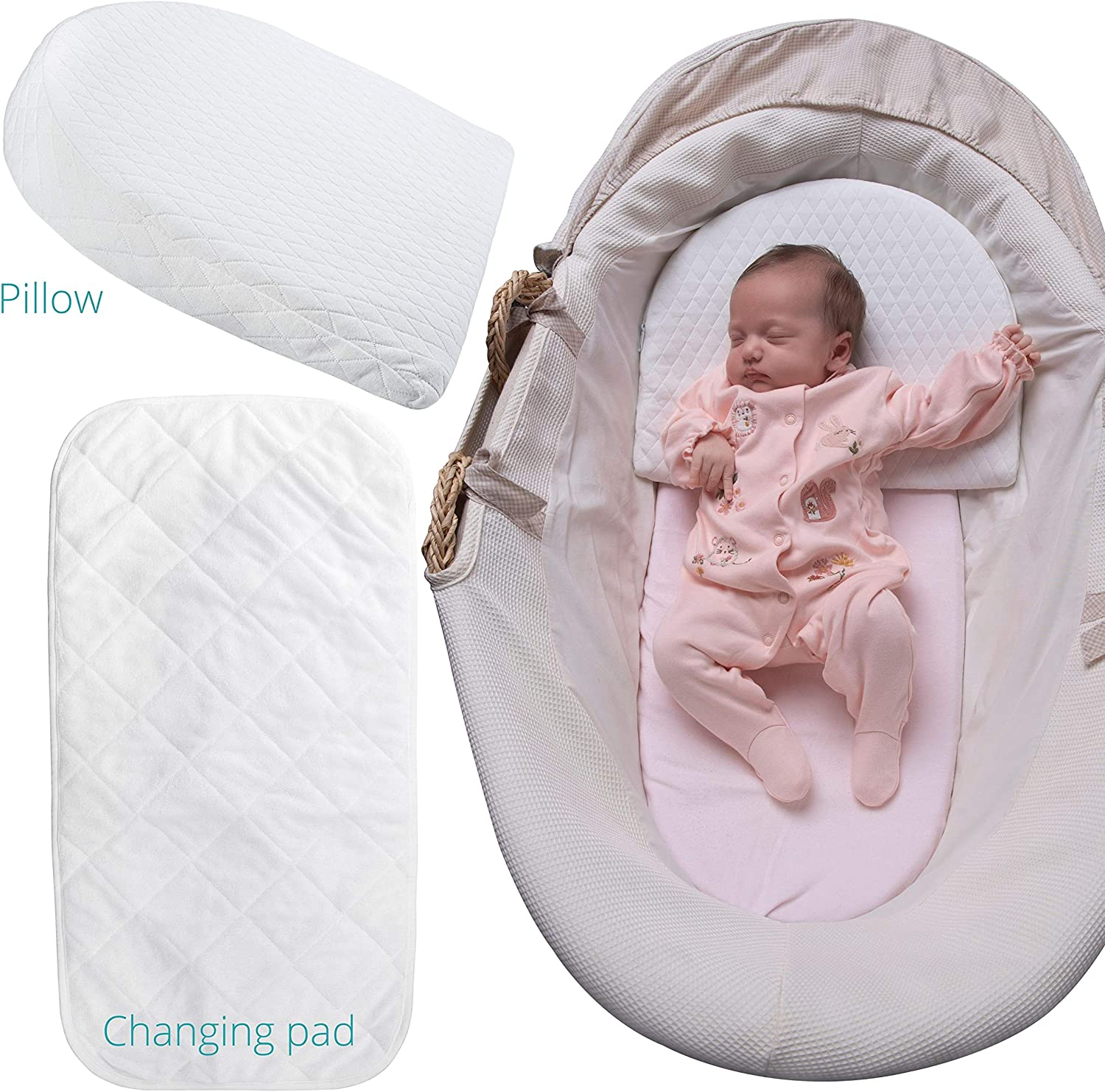 Baby Wedge Pillow Bassinet Wedge Pillow Baby with Waterproof Changing Pad and Removable Cotton Cover by Aripino for Acid Reflux Baby Wedge Sleep Positioner Infant Pillow Newborn Wedge