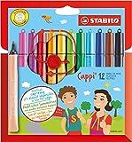 STABILO Cappi - Rotulador escolar con sujeción triangular - Estuche de 12 colores - Incluye anilla para no perder los tapones