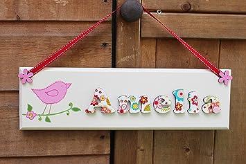 Personalised children\'s wooden door sign plaque, floral design ...