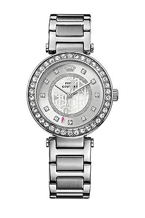 Juicy Couture Luxe reloj infantil de cuarzo con para mujer plateado esfera analógica y plateado correa de acero inoxidable de 1901150: Amazon.es: Relojes