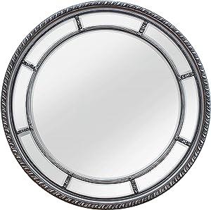 SBC Decor Augusta Circular Wall Mirror, Large, Silver