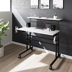 Techni Mobili Rolling Writing Height Adjustable Desktop and Moveable Shelf,White Desk