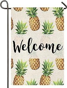 Atenia Welcome Pineapple Burlap Garden Flag, Double Sided Garden Outdoor Yard Flags for Summer Decor (Garden Size - 12.5X18)