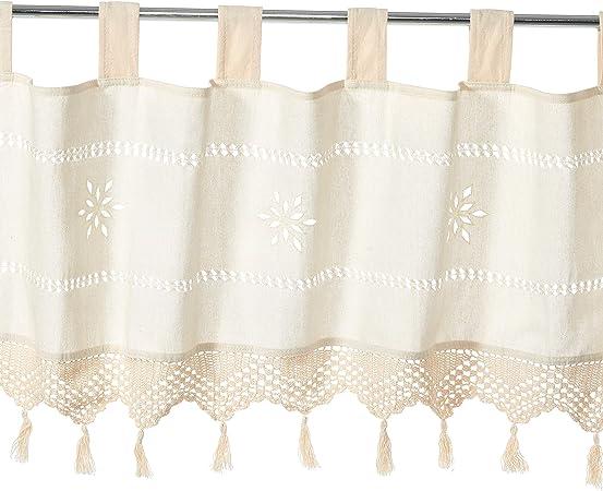 Unimall Cortina Visillos Cocina Cortinas de ventana, de Algodón y lino y de 17 x 59 inches (45x150cm): Amazon.es: Hogar