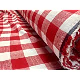 Gingham Linen Checked Linen Fabric Plaid Material Buffalo Black or Blue Check - 55 inches Wide (Sold by The Yard) (RED & White)
