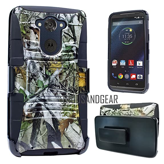Customerfirst - Hard Shell Holster Combo Case For Motorola Droid Turbo Symbiosis Advanced Armor Impact Hybrid