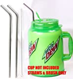 """2 JUMBO 14"""" Stainless Steel 100 oz Straw HUGE SUPER LONG Drinking Wide Insulated Whirley Travel Mug FOAM Truck Stop Cup"""