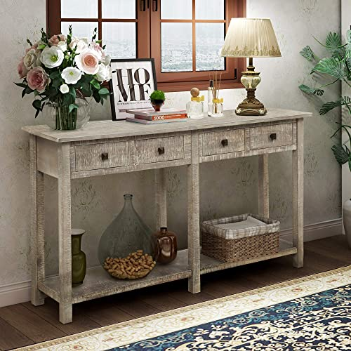Retro Console Table Sofa Table for Entryway with Drawers and Shelf Living Room Sideboard Grey Wash