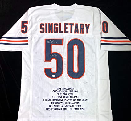 Mike Singletary Signed Autographed White Stat Football Jersey with ...