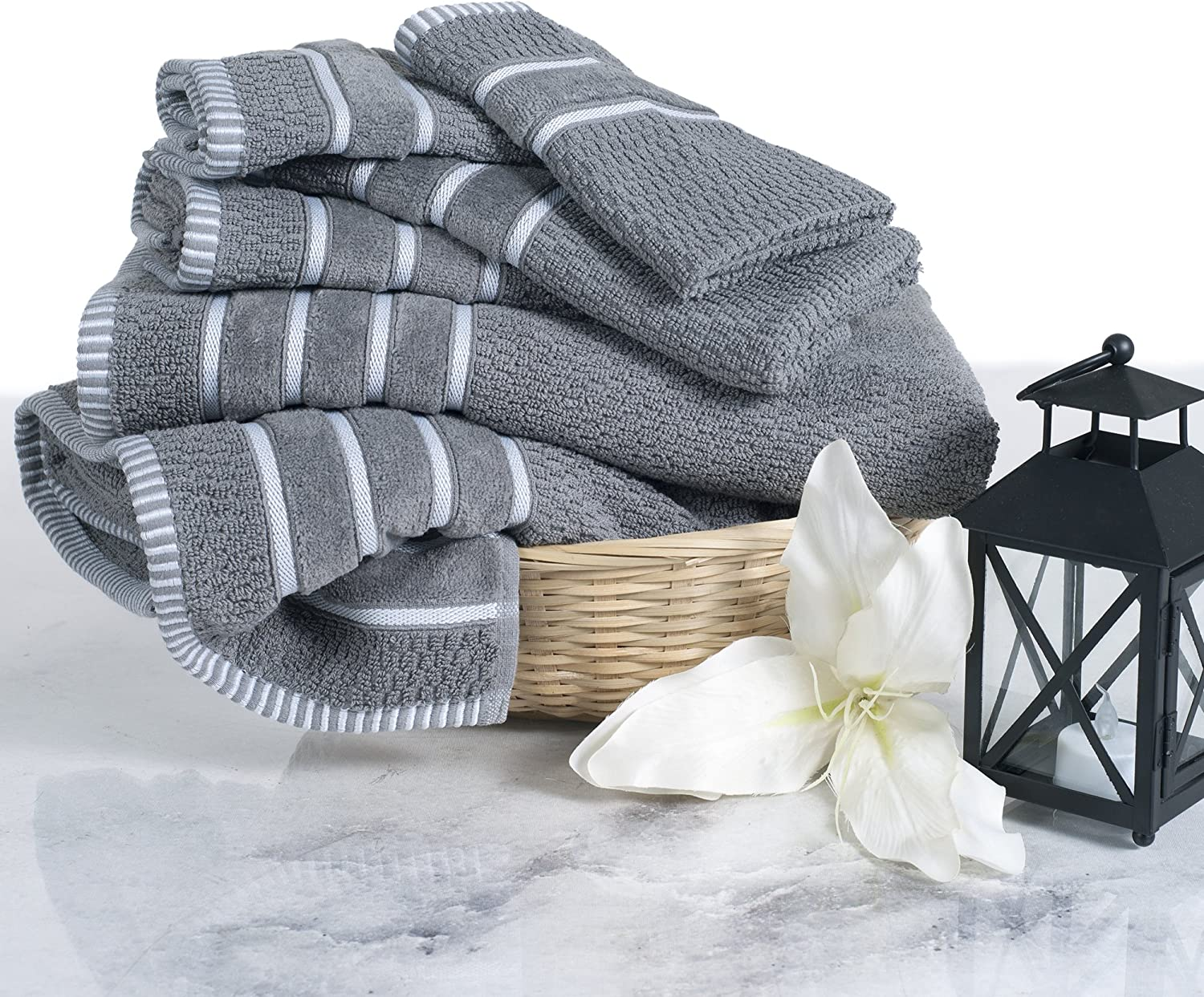 Luxury Cotton Towel Set - Rice Weave 100% Egyptian Cotton 6 Piece Set with 2 Bath Towels, 2 Hand Towels and 2 Washcloths - Silver Gray