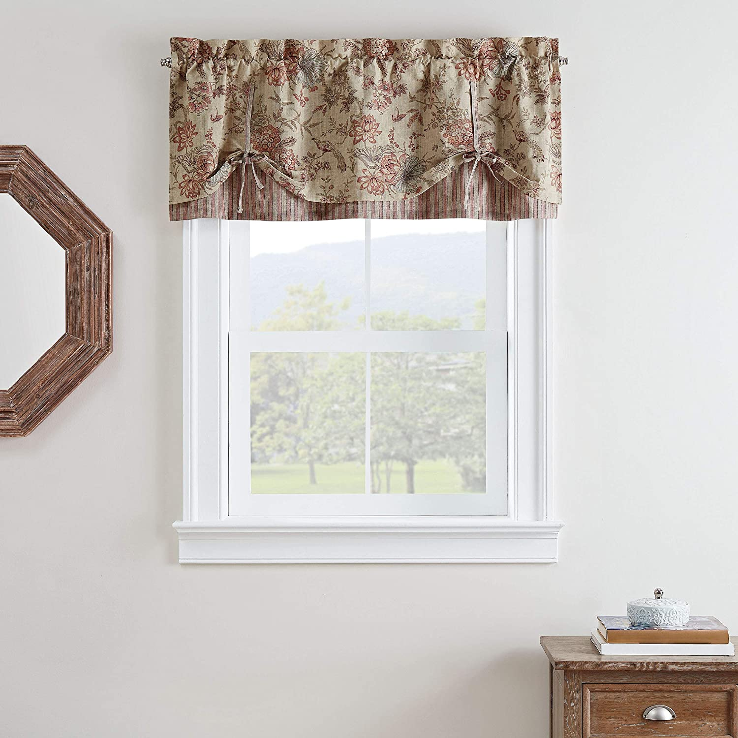 "Waverly Lucchese Short Valance Small Window Curtains Bathroom, Living Room and Kitchens, 52"" x 18"", Giardino"