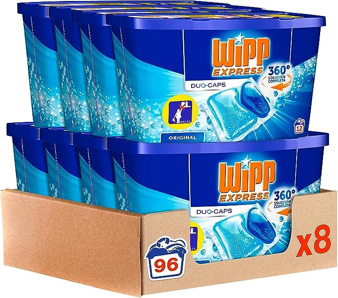 TALLA 96 lavados. Wipp Express Detergente en Cápsulas 12 Lavados, Pack de 8, Total: 96 Lavados