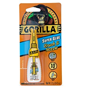 Gorilla Super Glue with Brush & Nozzle Applicator, 12 Gram, Clear