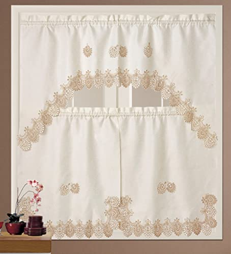 BH Home Royal Macrame 3-Piece Kitchen Curtain Window Treatment Set Beige