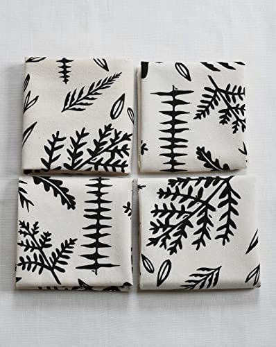 Neutral Colored Napkins Fern and Fossil Design Handmade Cloth Dinner Napkins