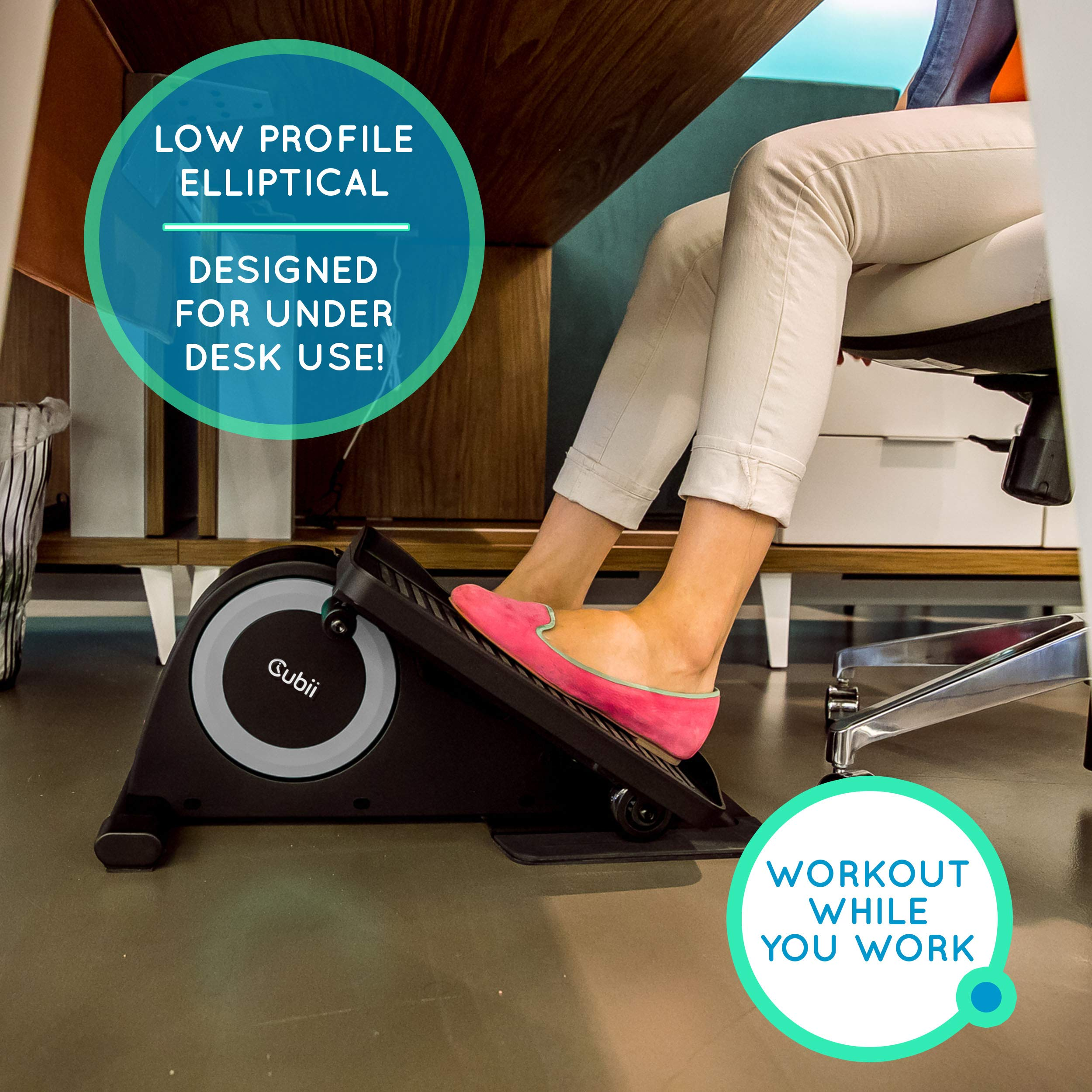 Cubii Jr: Desk Elliptical w/Built in Display Monitor, Easy Assembly, Quiet & Compact, Adjustable Resistance (Silver) by Cubii (Image #5)