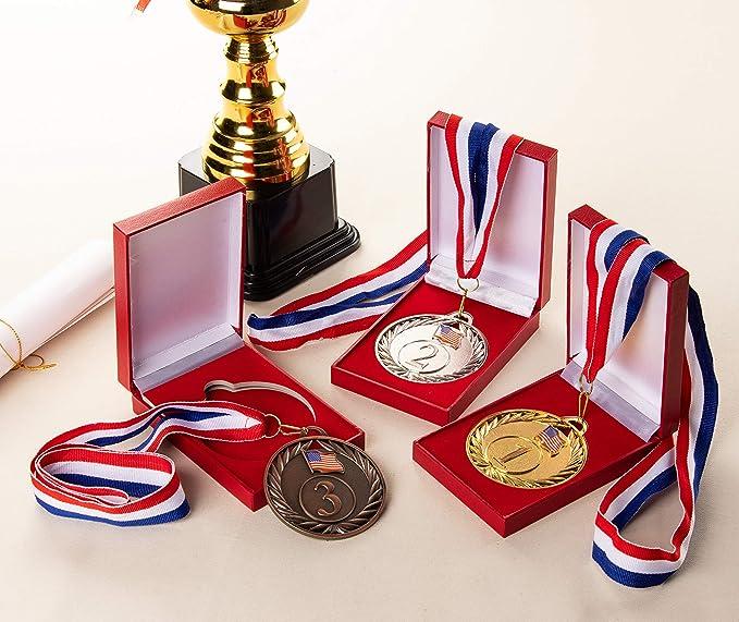 Amazon.com: Juvale Medallas de bronce dorado y plateado con ...