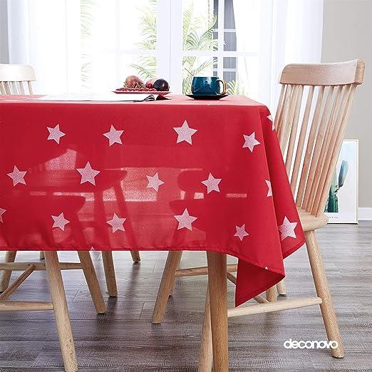 Deconovo Manteles de Mesa con Estrella Plateado 130 x 130 cm Rojo ...