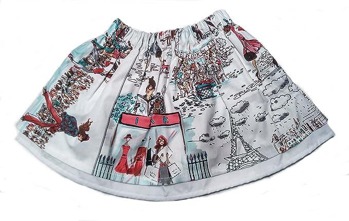 Falda de Niña Estampada |100% Algodón| con Forro y Volante de ...