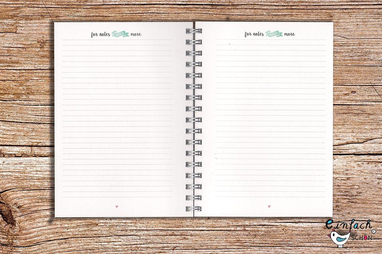 Mein Jahresplaner türkis 52 Wochen 1 Jahr Mini DIN A6 Kalender Organizer