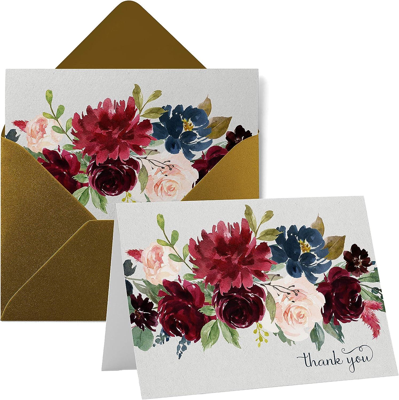 Indigo Floral Thank You Cards (20 Pack) Wedding – Bridal Shower – Engagement – Birthday - Graduation – Rustic Boho Flower Style - Everyday Folded Stationery Set with Gold Envelopes