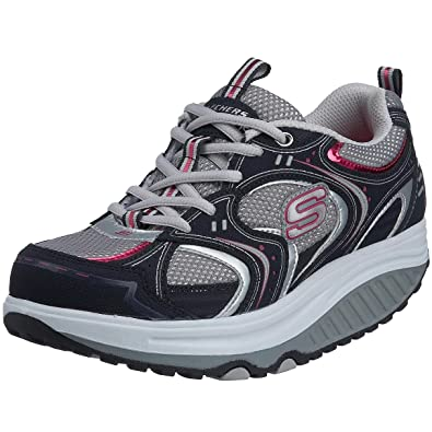 Skechers Shape Ups - Action Packed - Zapatillas de cuero nobuck para mujer, color gris, talla 36.5: Amazon.es: Zapatos y complementos