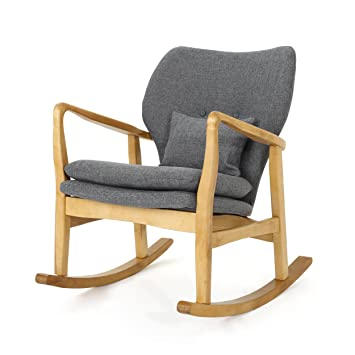 Sensational Gdf Studio Beryl Mid Century Modern Grey Fabric Rocking Chair Creativecarmelina Interior Chair Design Creativecarmelinacom