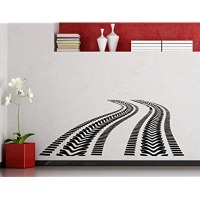 Tire Tracks Wall Decal Car Road with Traces of Tire Garage Vinyl Sticker Home Nursery Kids Boy Girl Room Interior Art Decoration Any Room Mural Waterproof Vinyl Sticker (301xx): Home Improvement