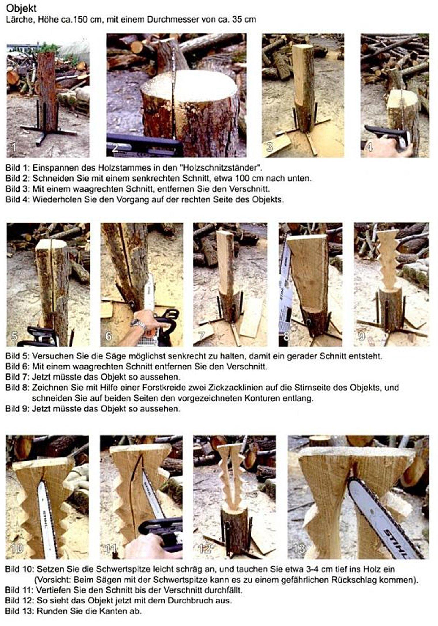 Specht Material Fichte Motorsage Holz Carving