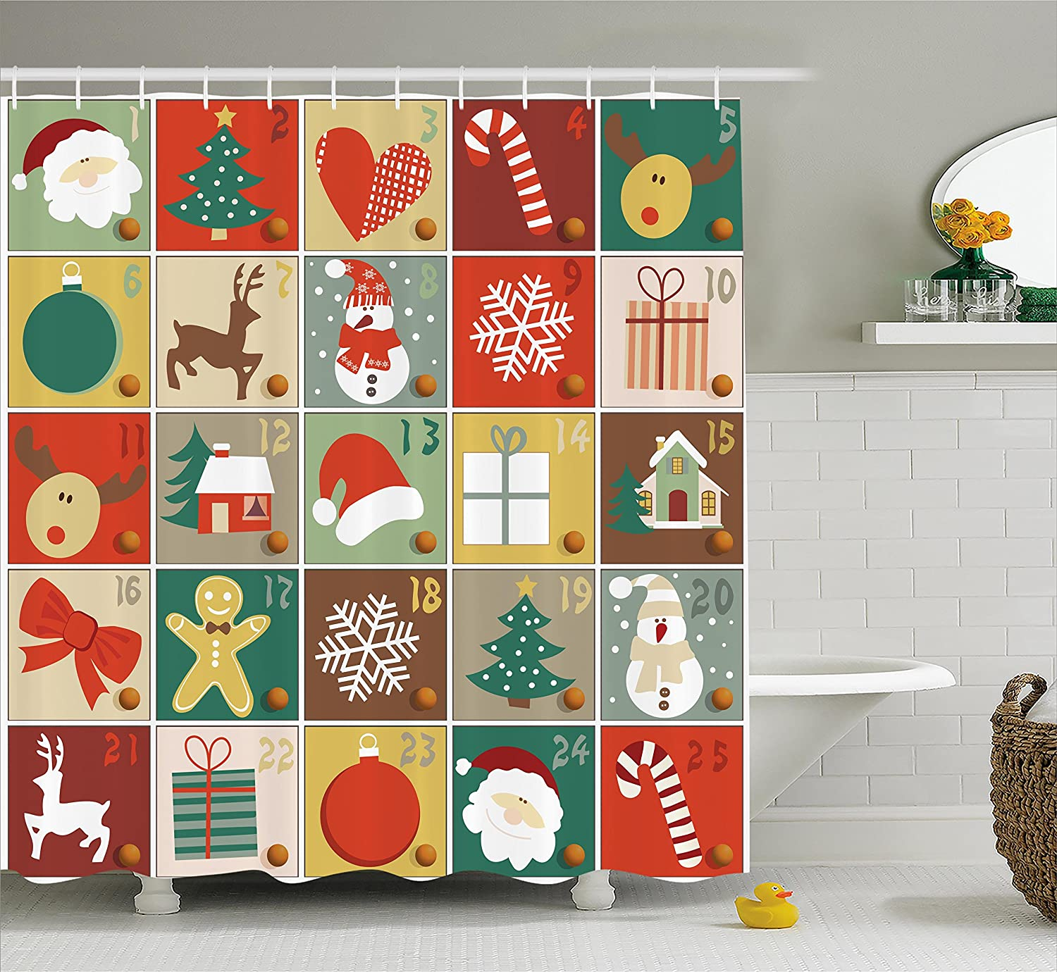 Ambesonne Christmas Shower Curtain Funny Christmas Bathroom Decorations by, Holiday Season Patterns with Santa Rudolf The Reindeer Gingerbread Man Candy Cane Snowflakes Snowman Xmas Tree, Multi