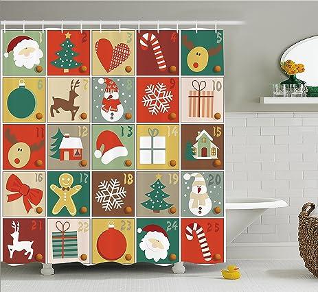 christmas shower curtain funny christmas bathroom decorations by ambesonne holiday season patterns with santa rudolf - Christmas Bathroom Decorations