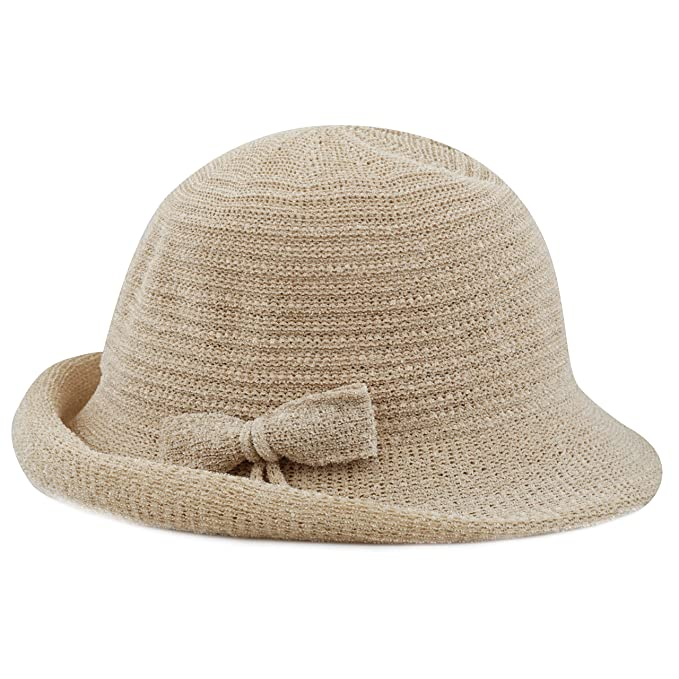 4e17921e4636b THE HAT DEPOT Women s Back Flip Brim Cloche Bucket Hat with Ribbon Accent  (Khaki)